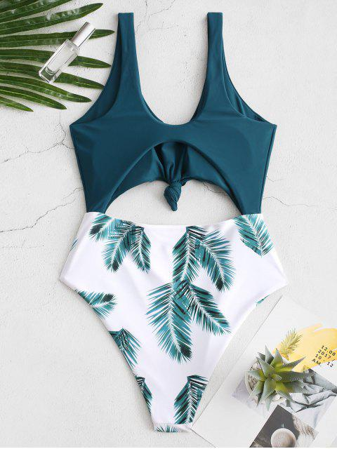 ZAFUL Knot Palm Leaf Cut Out Swimsuit - Blu pavone M Mobile