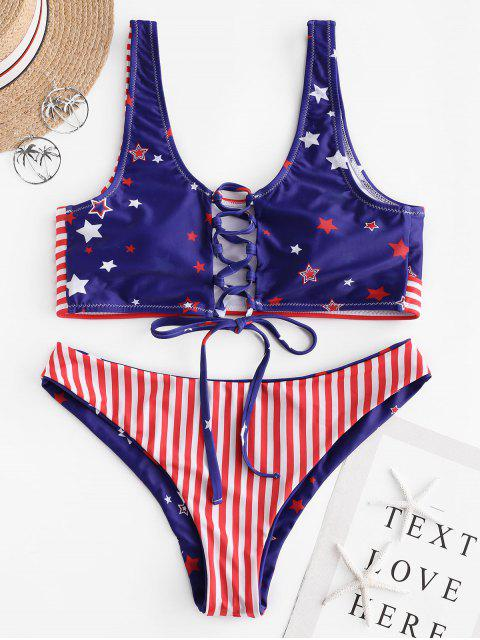 outfits ZAFUL American Flag Lace-up Reversible Bikini Swimsuit - MULTI-A M Mobile