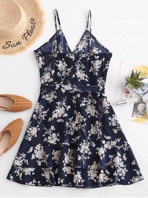 Chasuble- Blumen-Gurt -Volant -Kleid - Tiefes Blau S Mobile