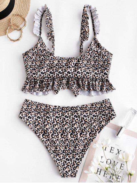 fancy ZAFUL Leopard Ruffle Tied Tankini Swimsuit - MULTI-A S Mobile
