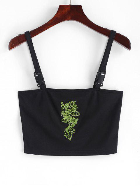 shops Dragon Embroidered Buckle Straps Tank Top - BLACK S Mobile