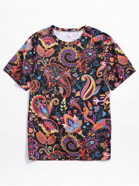 Camiseta de manga corta con estampado floral de paisley - Multicolor-A XL Mobile