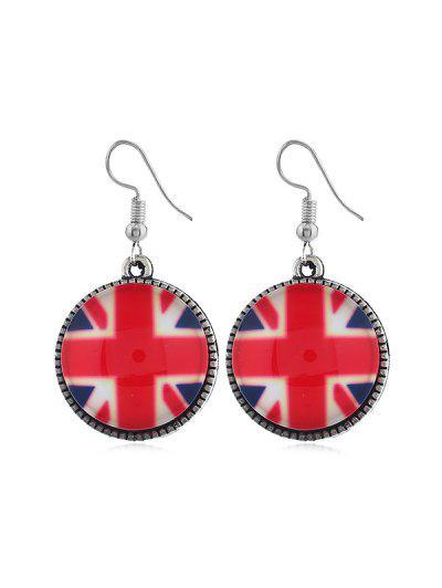 Flag Pattern Round Drop Earrings - Multi-b