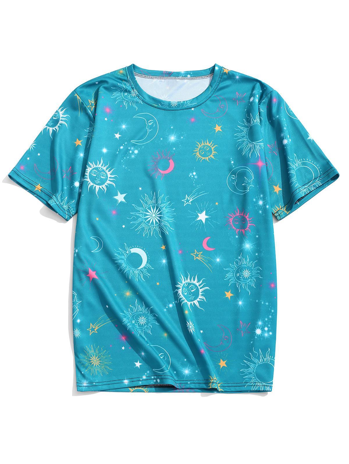 Sun Moon Star Graphic Print Short Sleeves T-shirt, Greenish blue