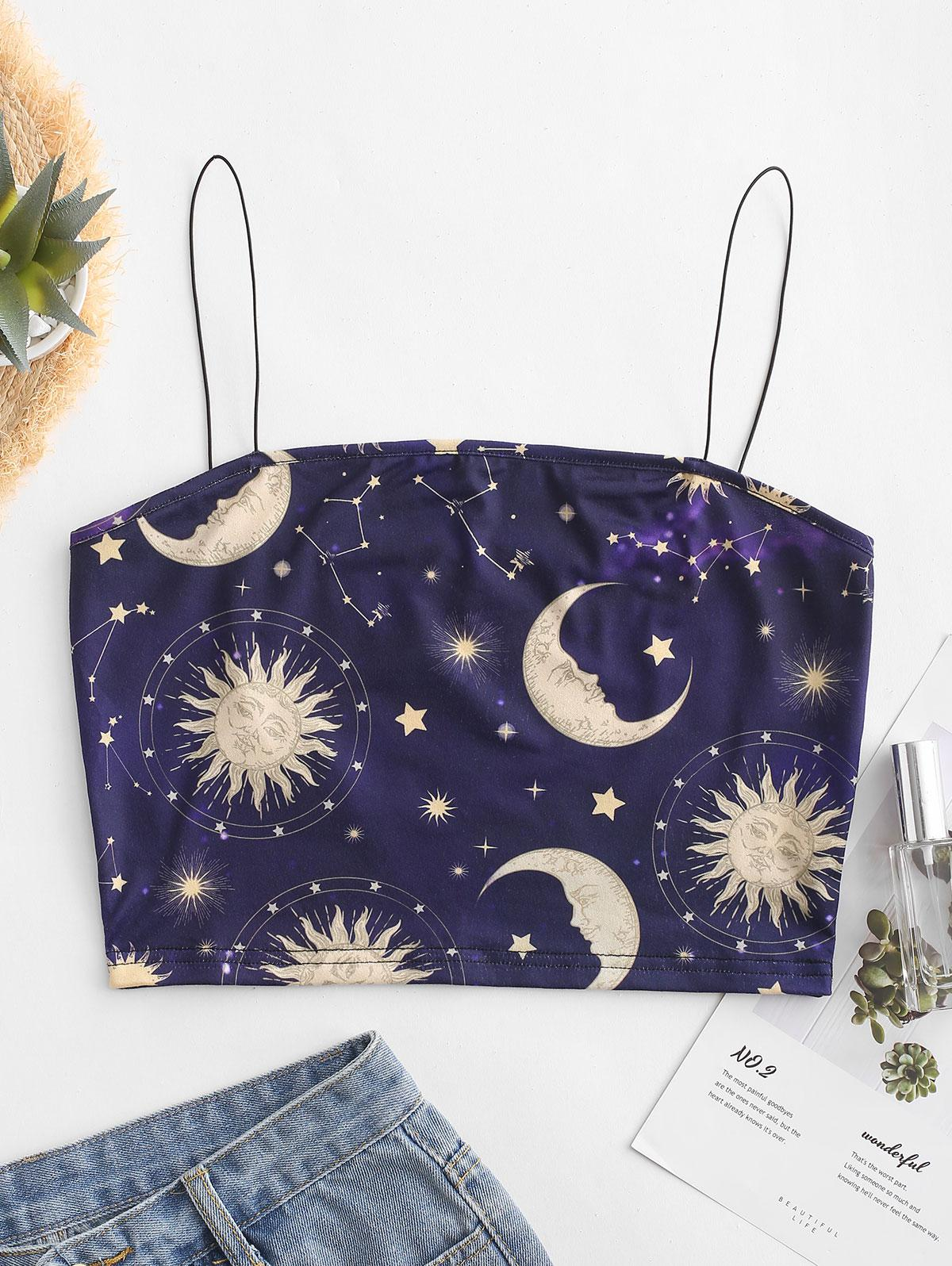 ZAFUL Cropped Star Sun And Moon Cami Top, Plum purple