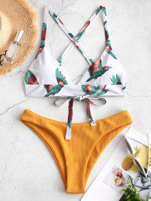 ZAFUL Bird Criss Cross Ribbed Bikini Set