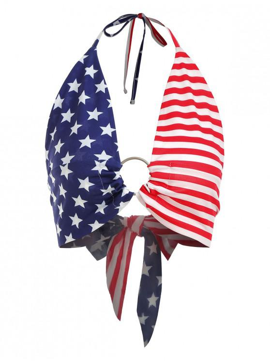 best ZAFUL Tied Back American Flag Bralette Top - MULTI M