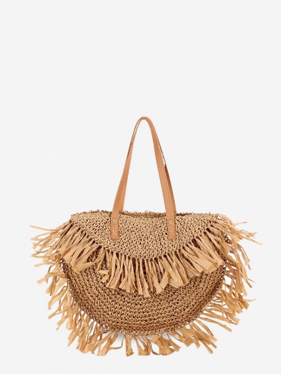 sale Fringe Straw Semicircle Handbag - BURLYWOOD