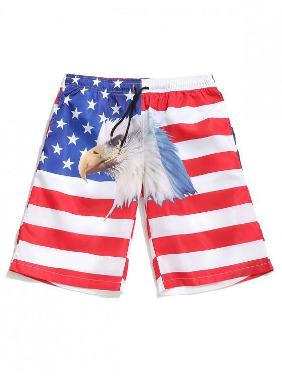 ladies American Flag Eagle Print Drawstring Board Shorts - WHITE XL