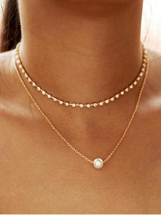 Collana a Strati in Lega con Diamante Artificiale e Perla Sintetica - Oro