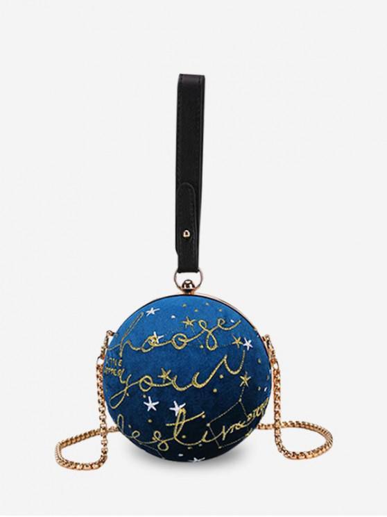 buy Embroidery Velvet Round Crossbody Bag - BLUEBERRY BLUE