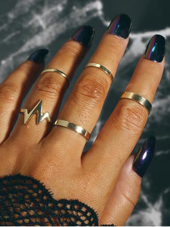 womens 5Pcs ECG Design Brief Ring Set - GOLD
