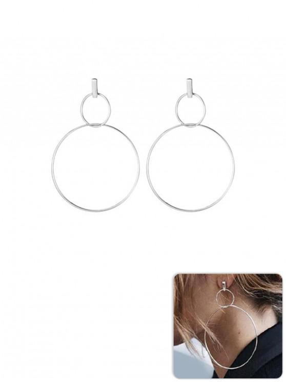 women Simple Alloy Double Circle Earrings - SILVER