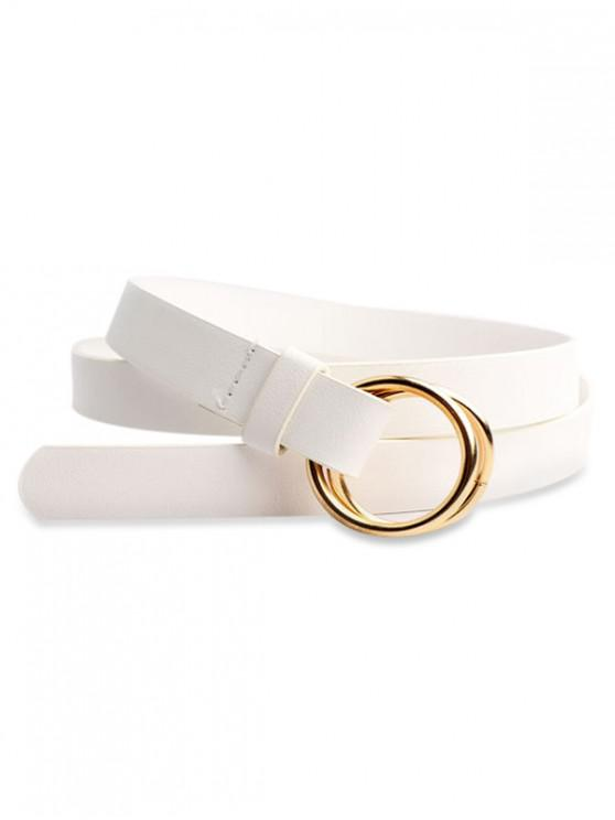 online Round Ring Design PU Waist Belt - WHITE