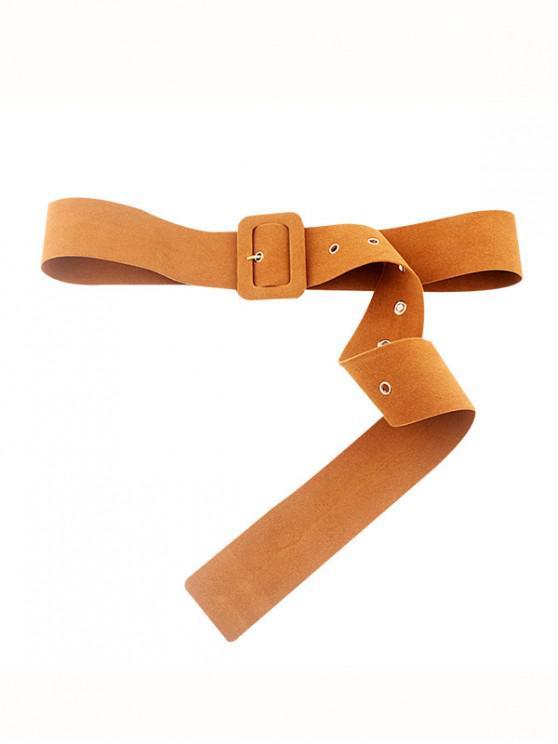 outfit Fleece Rectangle Buckle Dress Belt - BROWN