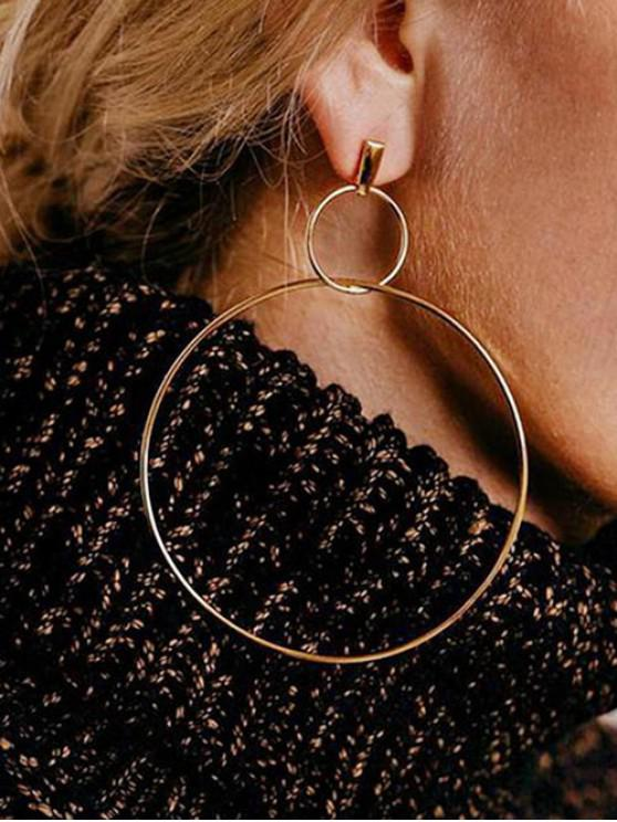 fashion Simple Alloy Double Circle Earrings - GOLD