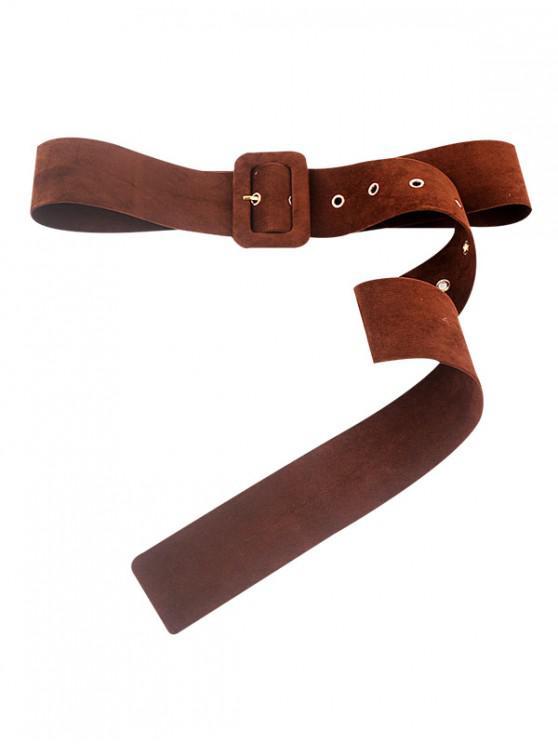 unique Fleece Rectangle Buckle Dress Belt - COFFEE