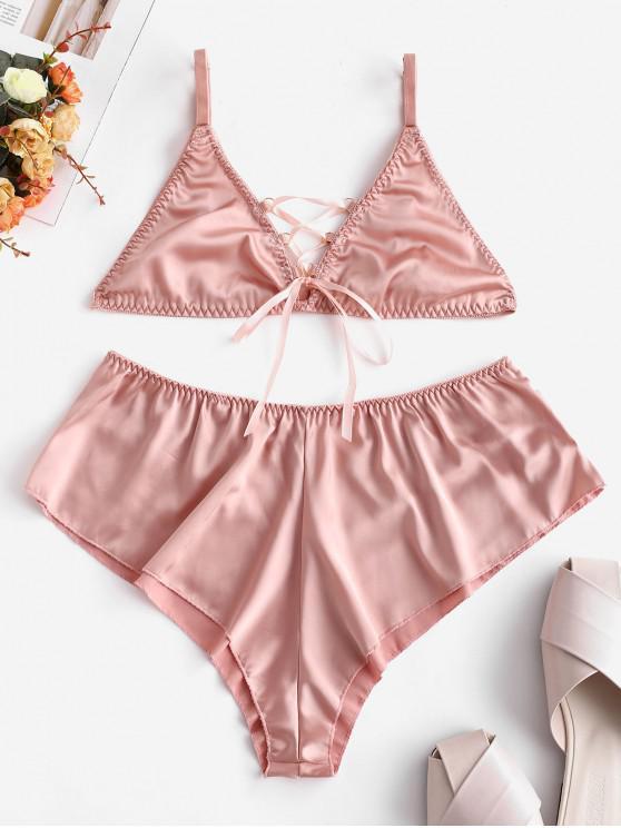 outfits Lace Up Bralette Satin Lingerie Set - ORANGE PINK XL