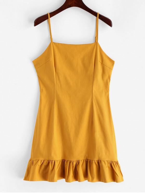 outfit Casual Ruffles Cami Mini Dress - YELLOW M