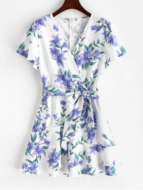 latest Ruffles Belted Floral Mini Dress - WHITE L