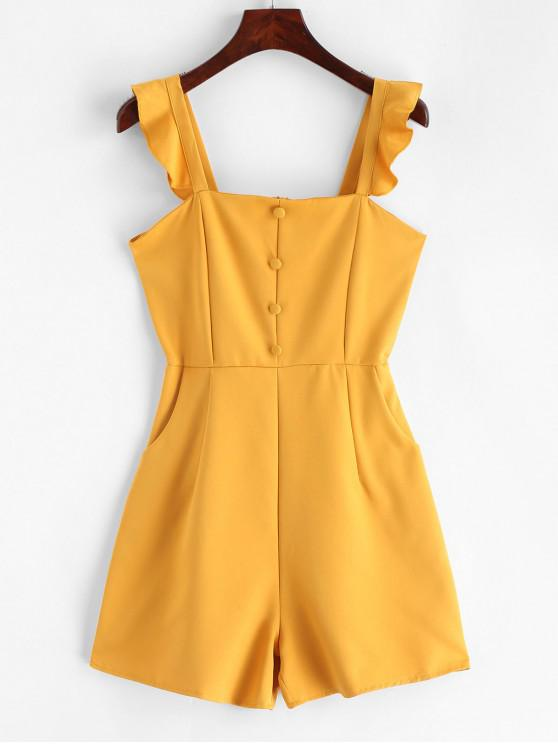 outfits Pockets Ruffles Buttoned Sleeveless Romper - YELLOW XS