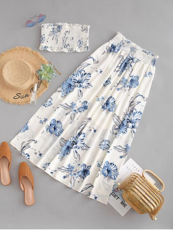 lady ZAFUL Flower Smocked Slit Skirt Set - WHITE M