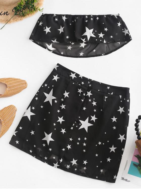 women's ZAFUL Overlay Stars Print Bandeau Top And Skirt Set - BLACK M