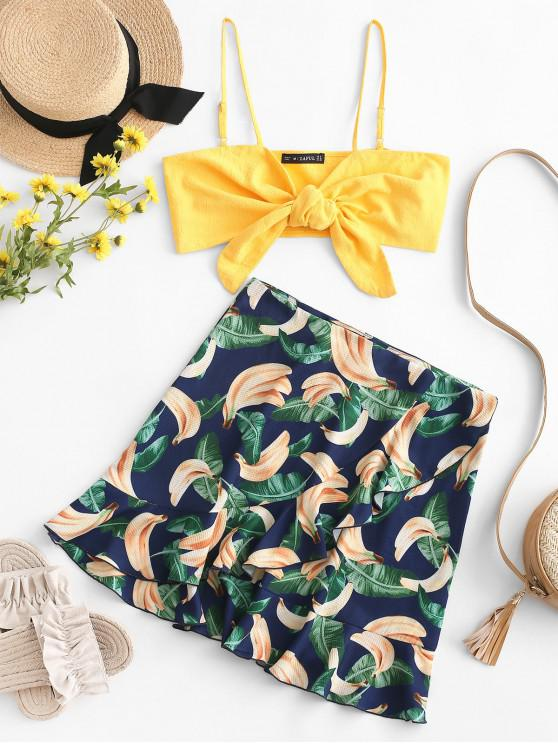 outfits ZAFUL Knotted Crop Cami Top and Banana Skirt Set - MULTI L