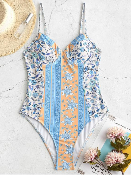 ZAFUL البوهيمي طباعة النبات Underwire ملابس السباحة قطعة واحدة - الكريستال الأزرق M