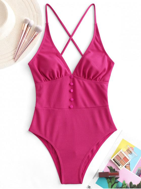 womens ZAFUL Button Crisscross Ribbed One-piece Swimsuit - ROSE RED L