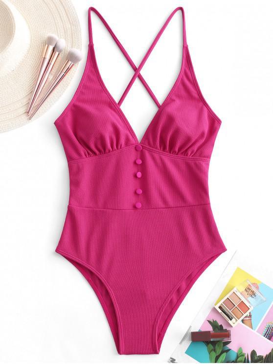 ZAFUL زر تتقاطع ملابس السباحة قطعة واحدة مضلع - وردة حمراء M