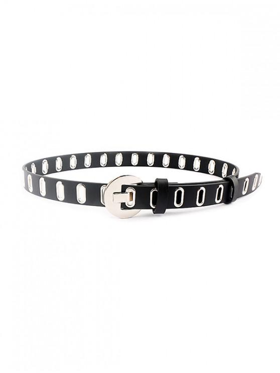 best Punk Oval Holes Buckle Belt - SILVER