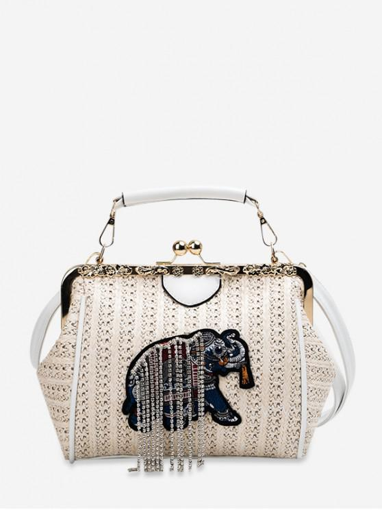 women's Animal Embroidery Crossbody Bag - BEIGE