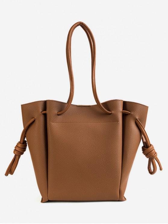 new String Solid Leather Casual Shoulder Bag - TIGER ORANGE