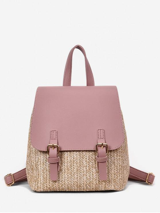 trendy Straw Woven Jointed Casual Satchel Backpack - ROSE