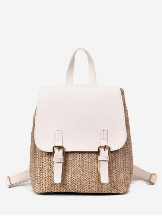 lady Straw Woven Jointed Casual Satchel Backpack - MILK WHITE