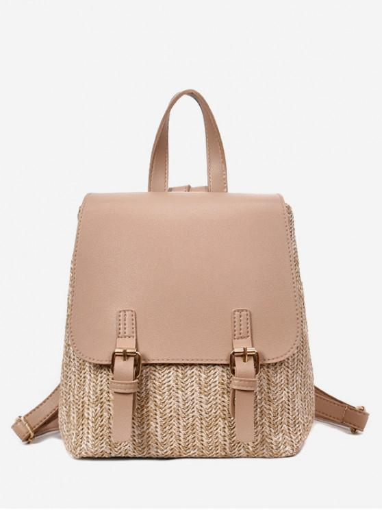 trendy Straw Woven Jointed Casual Satchel Backpack - TAN