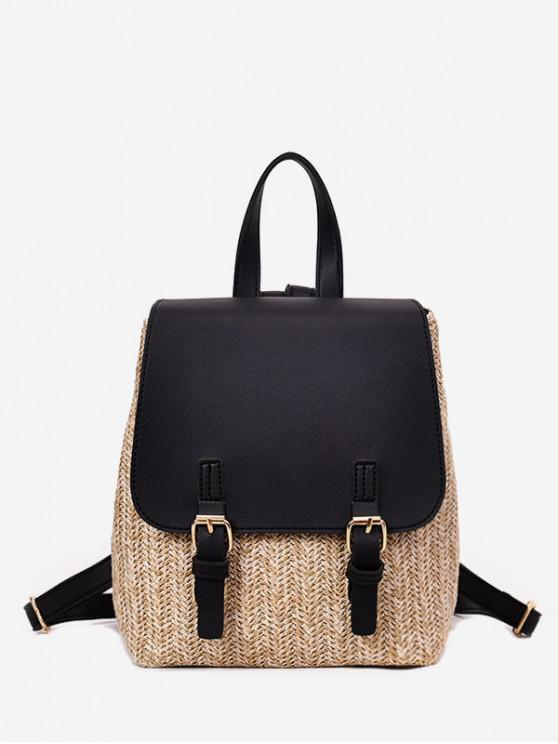affordable Straw Woven Jointed Casual Satchel Backpack - BLACK