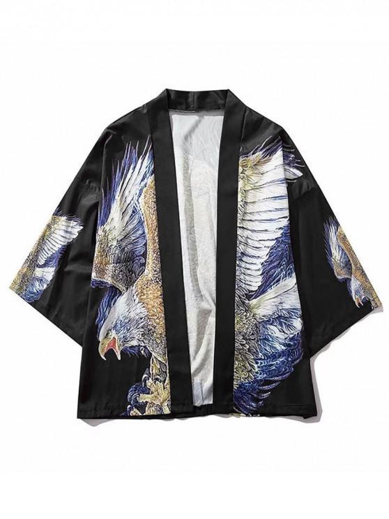 Cárdigan estilo kimono frontal con estampado gráfico de águila - Negro 2XL