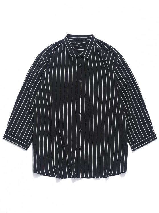 womens Striped Print Curved Hem Button Shirt - BLACK L
