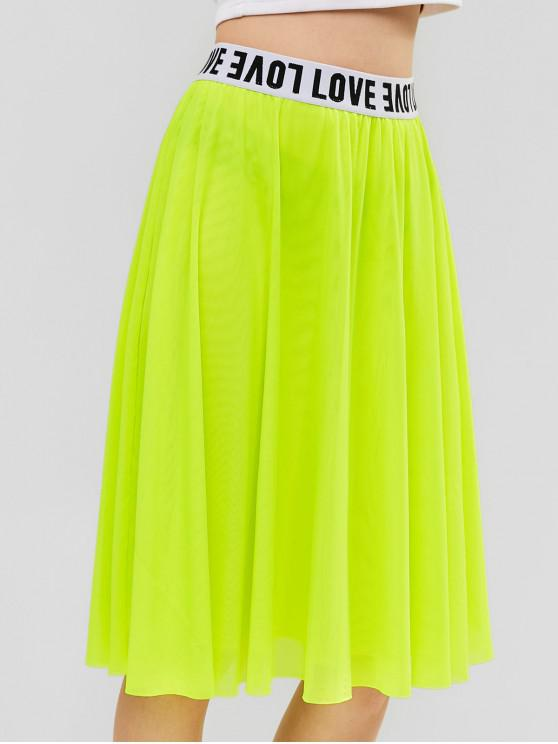 women's ZAFUL A Line Mesh Neon Knee Length Skirt - PISTACHIO GREEN M