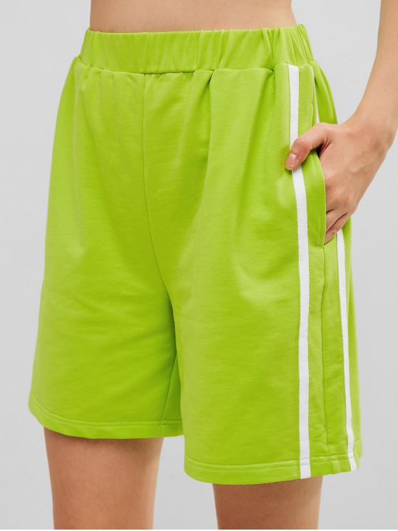 online ZAFUL Striped Tape Pocket Biker Shorts - TEA GREEN L