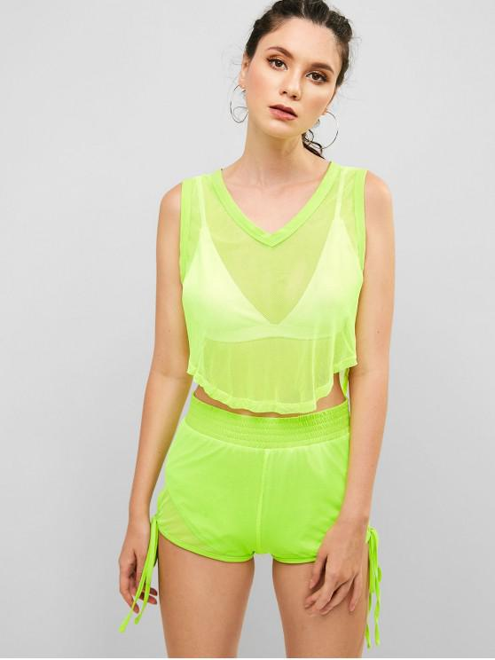 shop ZAFUL Fishnet Neon Tank Top and Shorts Set - TEA GREEN M