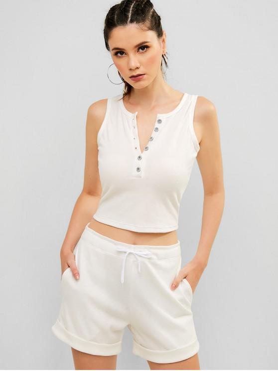 fashion ZAFUL Ribbed Half Button Rolled Shorts Set - WHITE L