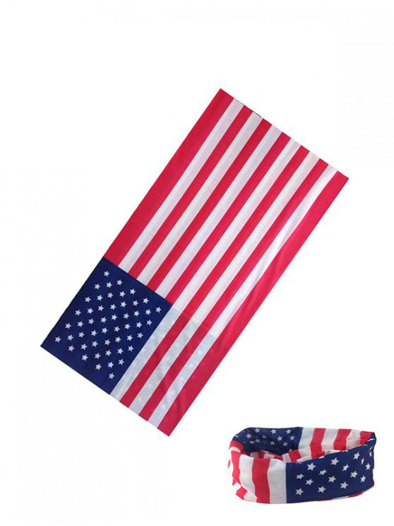 women American Flag Riding Circle Head Scarf - ROSSO RED