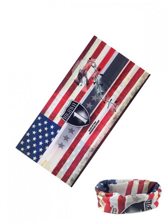 trendy American Flag Riding Circle Head Scarf - LAVA RED