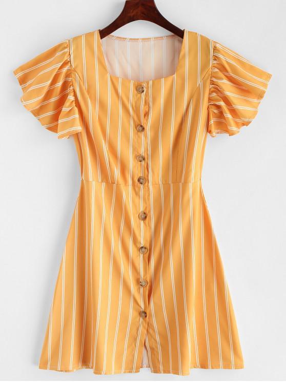 Mini vestido con volantes de rayas y volantes - Amarillo S