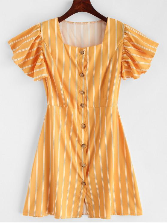 ladies Ruffles Button Up Stripes Mini Dress - YELLOW L