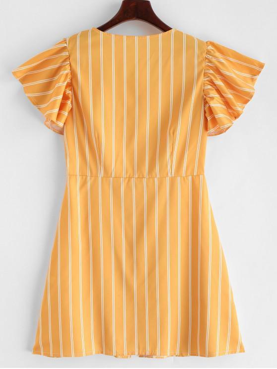 Mini À Rayée Boutonnée VolantsJaune robe L PkOuZiX