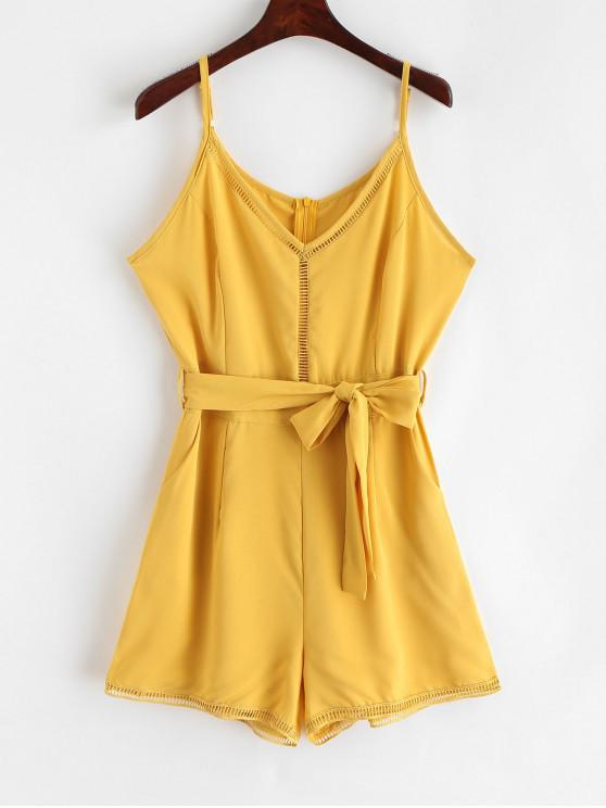 online Belted Crochet Trim Cami Romper - YELLOW S